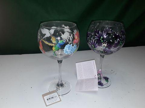 Lot 71 HUMMINGBIRD + FLOWER GIN GLASSES