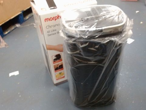 Lot 6 MORPHY RICHARDS CHROMA BLACK 42 LITRE SQUARE SENSOR BIN RRP £69.00