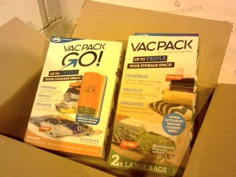 Lot 2819 BOXED VAC PACK GO! AND 2 LARGE BAGS