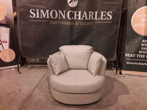 Lot 126 DESIGNER TAUPE FAUX LEATHER SWIVEL CHAIR