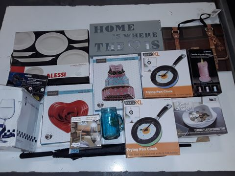 Lot 8347 LOT OF ASSORTED HOUSEHOLD ITEMS TO INCLUDE ALESSI SERVING PLATE, LED TABLE LAMP, FRYING PAN CLOCKS AND COLOUR CHANGING CANDLE