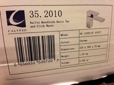 Lot 10655 BOXED CALYPSO RIALTO MONOBLOCK BASIN TAP & CLICK WASTE CHROME