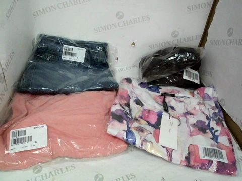 Lot 8607 BOX OF LARGE QUANTITY OF CLOTHES THESE INCLUDE CORAL SWEAT PANTS, FLORAL DRESSES AND JEANS