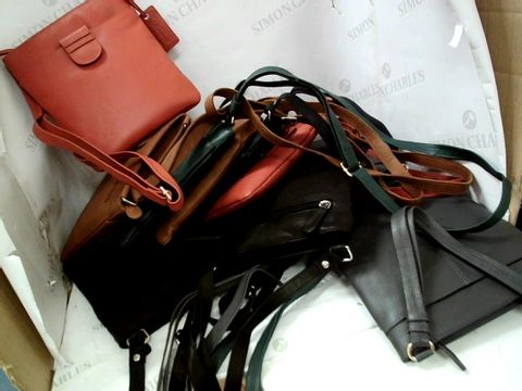 Lot 8368 12 LEATHER SHOULDER BAGS ASSORTED COLOURS