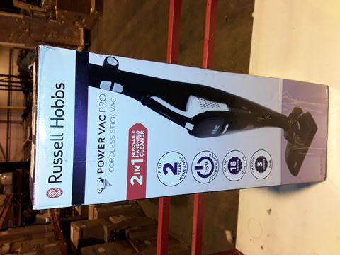 Lot 3196 BOXED RUSSELL HOBBS POWER VAC PRO CORDLESS STICK VAC