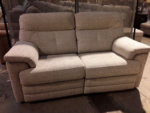 Lot 614 QUALITY BRITISH MANUFACTURED HARDWOOD FRAMED BEIGE FABRIC POWER RECLINING TWO SEATER SOFA