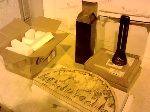 Lot 2369 5 ASSORTED ITEMS TO INCLUDE: BOX OF FOAM PACKING BLOCKS, RAINDEER DECORATION, SET OF THREE TBALE LAMPS ETC