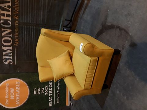 Lot 8 DESIGNER GOLD FABRIC WINGED EASY CHAIR
