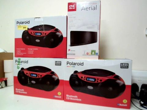Lot 203 LOT OF 3 POLAROID BLUETOOTH CD BOOMBOXES + ONE FOR ALL AMPLIFIED INDOOR AERIAL