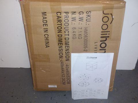Lot 5032 BOXED JOOLIHOME SIDE TABLE - WHITE/CHROME