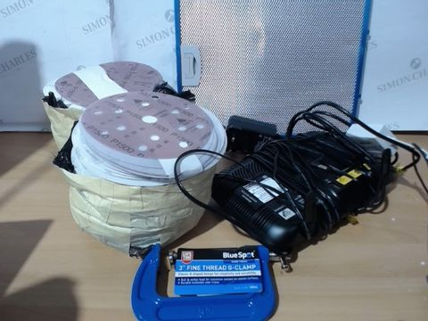 """Lot 2001 MEDIUM LOT OF ASSORTED HOUSEHOLD ITEMS TO INCLUDE: EXTRACTOR FAN FILTER, BT HUB, PACK OF P1500 SANDPAPER, 3"""" FINE THREAD G-GLAMP HAND TOOL ETC"""