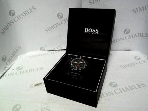 Lot 4332 BOSS BLACK DIAL CHRONOGRAPH LEATHER STRAP WATCH RRP £379.00