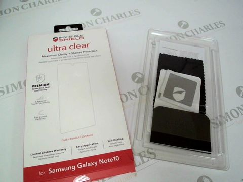 Lot 2326 LOT BOX OF APPROX 65 BRAND NEW INVISIBLE SHIELD ULTRA CLEAR PHONE PROTECTORS FOR SAMSUNG GALAXY NOTE 10