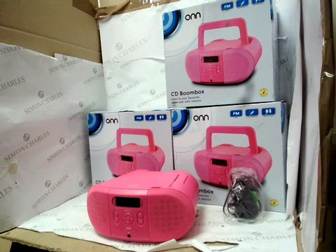 Lot 12100 LOT OF 3 PINK ONN CD BOOMBOXES