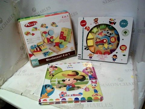 Lot 131 3 X BABY TOYS TO INCLUDE DISNEY PUZZLE BOOK, CLOCK PUZZLE, WOODEN BLOCK GAME