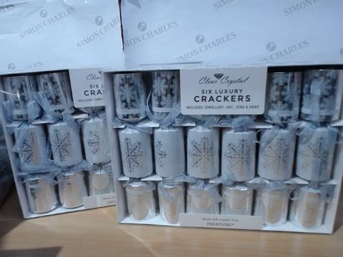 Lot 2011 LOT OF 2 X CLEAR CRYSTAL SIX LUXURY CRACKERS MADE WITH CRYSTALS FROM SWAROVSKI