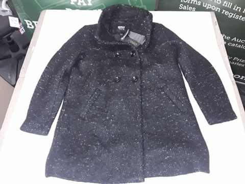 Lot 55 ONLY BUTTON FRONT WOOL COAT IN FLECKED BLACK - XL