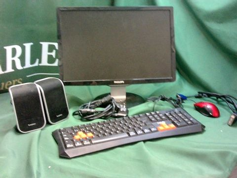 Lot 9383 ASSORTED PC ACCESSORIES TO INCLUDE PHILIPS PC MONITOR, SPEAKERS, KEYBOARD, MOUSE