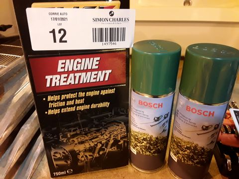 Lot 12 THREE ITEMS, SLICK 50 ENGINE TREATMENT750ml & 2 × BOSCH 250ml LUBRICANT SPRAYS