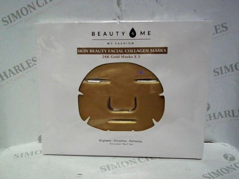 Lot 8036 BEAUTY & ME 24K GOLD COLLAGEN MASKS SET OF 5