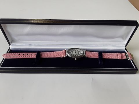 Lot 9206 CENSI COLLECTION SQUARE BODIED WATCH WITH PINK LEATHER STRAP