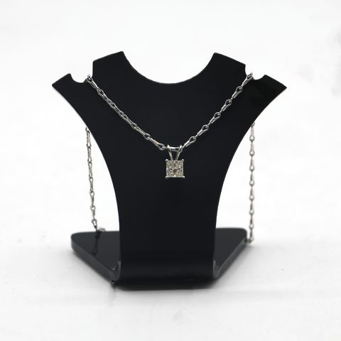 Lot 7 DESIGNER 18ct WHITE GOLD PENDANT ON CHAIN SET WITH A PRINCESS CUT DIAMOND