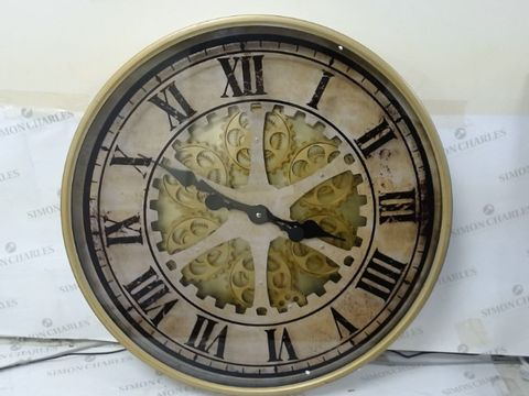 Lot 167 SASSY HOME CA009 BRASS EFFECT AGED RUSTIC MOVING MOTION MECHANICAL GEAR WALL CLOCK, ONE COLOUR, 60 X 6 X 60CM