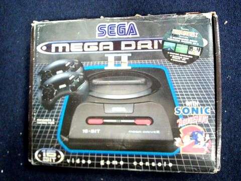 Lot 1627 SEGA MEGADRIVE II WITH 3 CONTROLLERS AND APPROXIMATELY 12 ASSORTED GAME CARTRIDGES