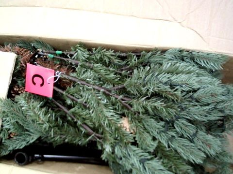 Lot 99 WE R CHRISTMAS 5' PRE LIT CRAFORD PINE BLUE TREE WITH MINI CONES