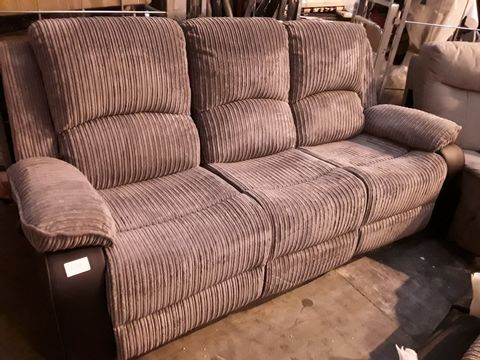 Lot 10514 DESIGNER BLACK FAUX LEATHER & GREY JUMBO CHORD MANUAL RECLINING THREE SEATER SOFA