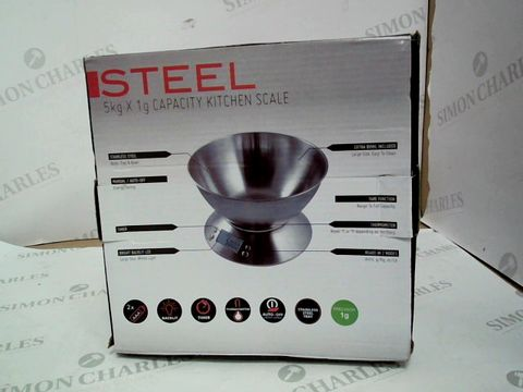 Lot 322 STEEL - 5KG X 1G CAPACITY KITCHEN SCALE