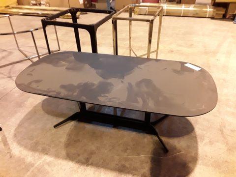 Lot 26 DESIGNER OVAL BLACK OAK COFFEE TABLE