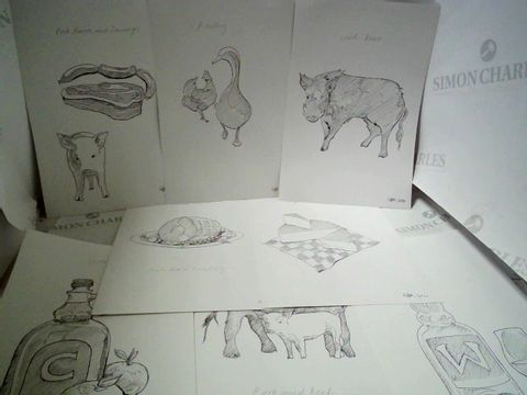 Lot 25 LOT OF APPROXIMATELY 22 INK SKETCHES SIGNED LTBK