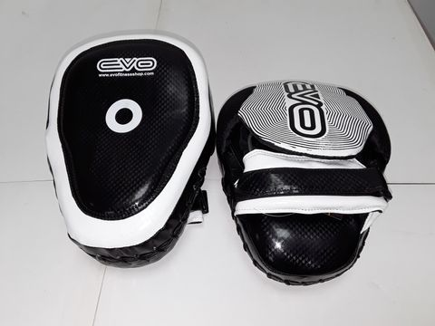 Lot 3081 PAIR OF EVO FITNESS FOCUS MITTS IN BLACK/WHITE