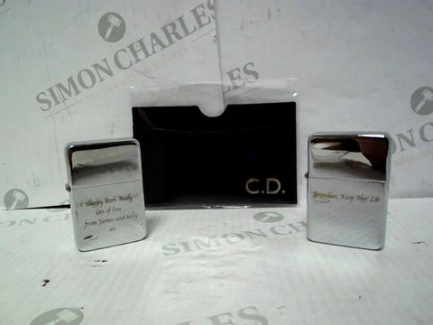 Lot 4357 LOT OF 3 ASSORTED PERSONALISED ITEMS, TO INCLUDE STAR SILVER LIGHTERS AND LEATHER CARD HOLDER RRP £51.00