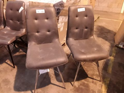 Lot 25 SIX DESIGNER GREY FAUX LEATHER SINGLE DINING CHAIRS: 2 ON STAINLESS STEEL LEGS, 4 ON BLACK