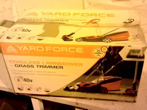 Lot 1322 YARD FORCE 32CM ROTARY CORDLESS LAWNMOWER AND GRASS TRIMMER TWIN PACK