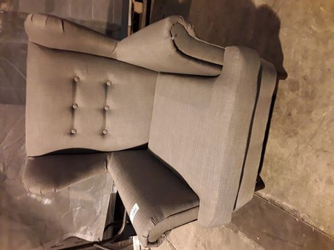 Lot 525 DESIGNER GREY FABRIC BUTTONED BACK WINGED BACK EASY CHAIR
