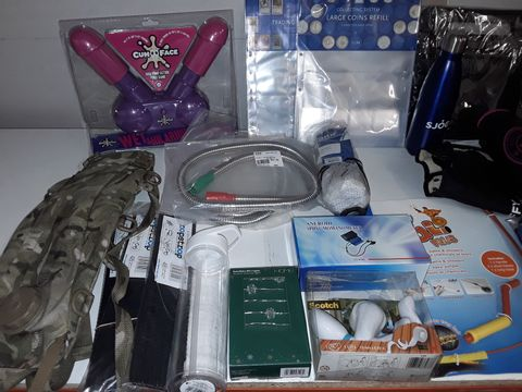 Lot 1259 LARGE QUANTITY OF ASSORTED HOUSEHOLD ITEMS TO INCLUDE CAMOFLAUGE WATER BAG, RHINO CORD SURF CABLE, MIRA SHOWER HOSES, EMBROIDERY KIT AND LED STRING LIGHTS