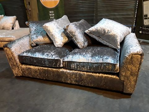 Lot 27 DESIGNER CRUSHED SILVER VELVET THREE SEATER SOFA WITH SCATTER CUSHIONS