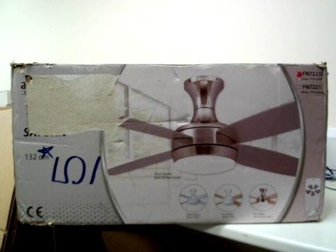 Lot 266 AIRERYDER CEILING FAN SATURN SATIN NICKEL 132CM BLADES IN SILVER