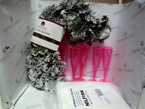 Lot 7688 LOT OF A LARGE QUANTITY OF ASSORTED HOUSEHOLD ITEMS, TO INCLUDE EVERLANDS GARLAND, NILFISH VACUUM CLEANER BAGS, DISPOSABLE PINK CHAMPAGNE GLASSES, ETC