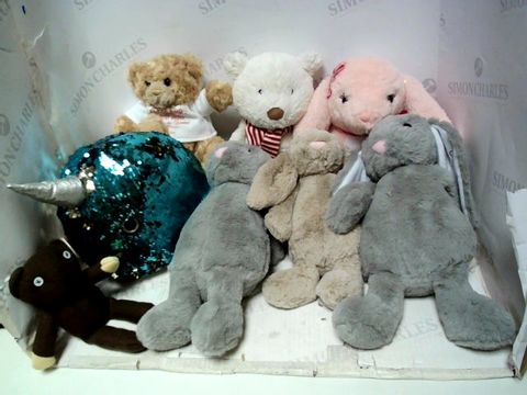 Lot 186 BOX OF ASSORTED SOFT TOYS TO INCLUDE SEQUIN WHALTE, RABBITTY MR BEAN TEDDY