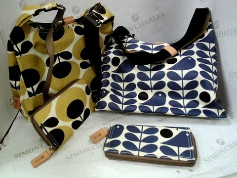 Lot 8325 FIVE DESIGNER ORLA KIELY CANVASS SHOPPING BAGS WITH MATCHING PURSES - 3 MUSTARD, 2 BLUE