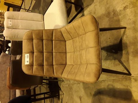 Lot 40 DESIGNER TAN FAUX LEATHER QUILTED UPHOLSTERED DINING CHAIR