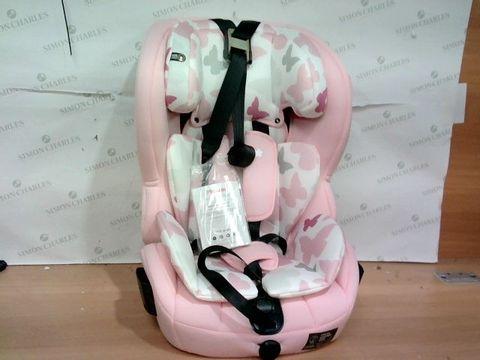 Lot 1362 MY BABIIE MY BABIIE GROUP 123 CAR SEAT- PINK BUTTERFLIES RRP £124.99