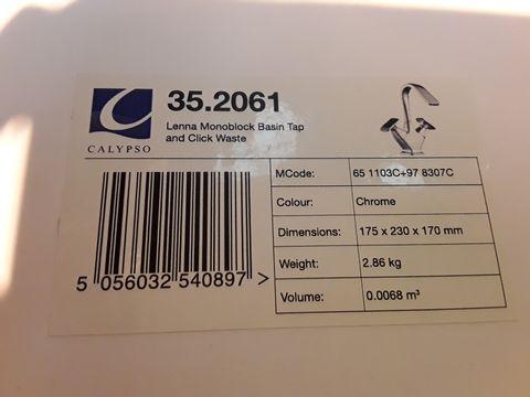 Lot 10652 BOXED CALYPSO LENNA MONOBLOCK BASIN TAP & CLICK WASTE
