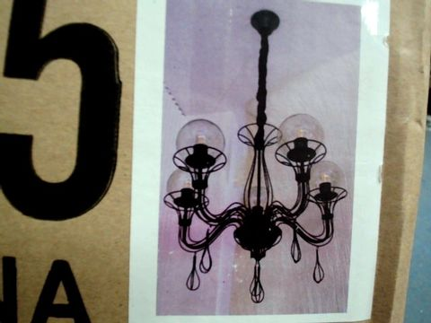 Lot 8 BOXED GOTHIC STYLE 5 BULBED CEILING CHANDELIER