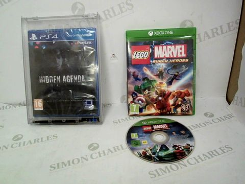Lot 12469 LOT OF 2 ASSORTED CONSOLE GAMES TO INCLUDE HIDDEN AGENDA FOR PS4 AND LEGO MARVEL SUPERHEROES FOR XBOX ONE