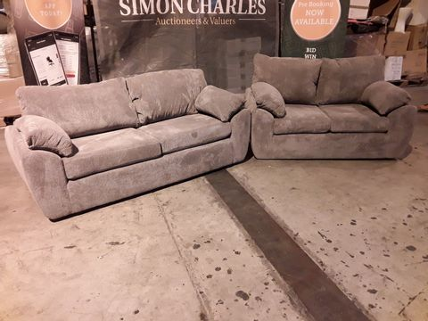 Lot 507 DESIGNER GREY FABRIC THREE & TWO SEATER SOFAS